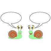 Two funny cartoon snails with talk bubbles. Vector-art illustration on a white background poster