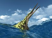Computer generated 3D illustration with the prehistoric Marine Reptile Hupehsuchus in stormy sea poster