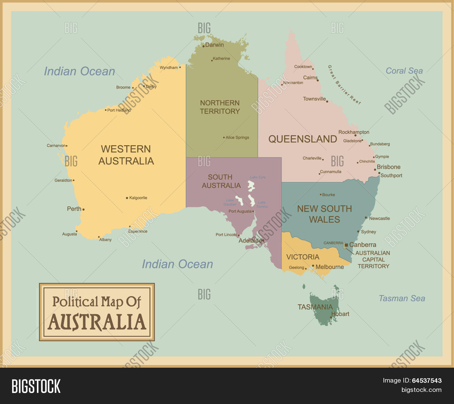 Map Of Australia Labeled.Australia Highly Vector Photo Free Trial Bigstock
