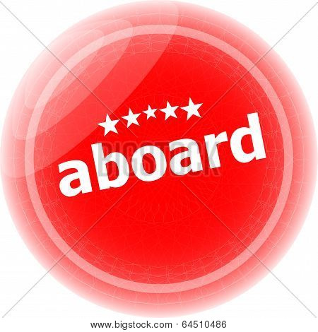 Aboard Word Stickers Icon Button Isolated On White