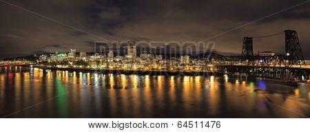 Portland City Skyline With Bridges At Night
