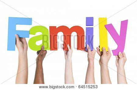 Diverse Hands Holding The Word Family
