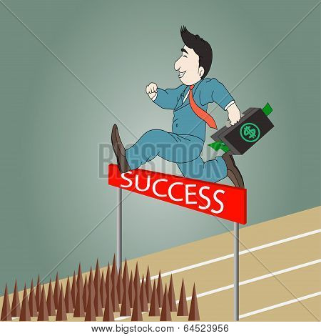 Businessman Jumping Over Hurdle With Briefcase