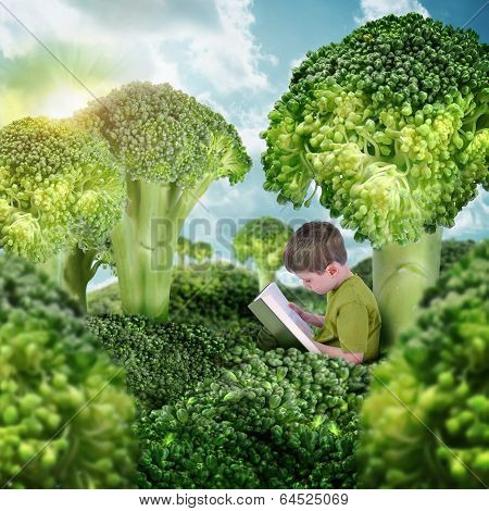 Healthy Child Reading Book In Green Broccoli Landscape