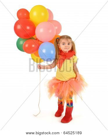 Little Girl Holding Party Balloons On White