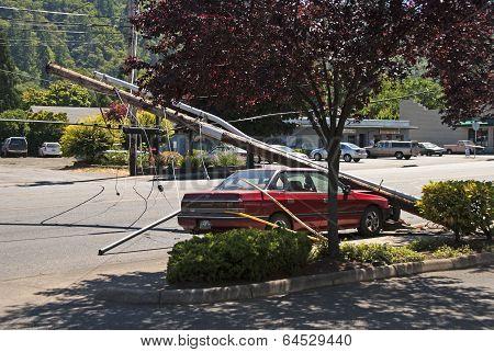 Car And Power Pole