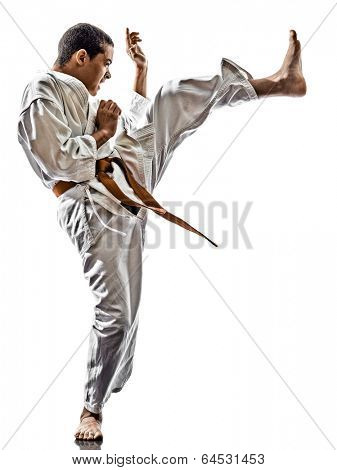 one karate kata training  teenagers kid  isolated on white background