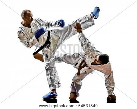 two karate men sensei and  teenager students fighters fighting protections isolated on white background