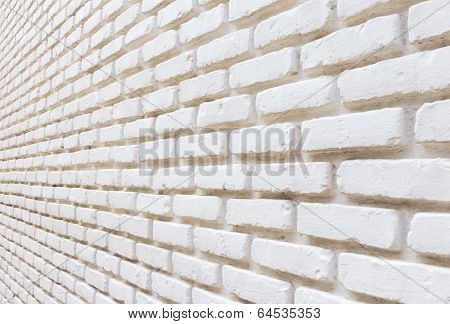 White Brick On Wall Perspective Background