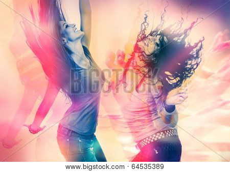 arty picture of two girls dancing