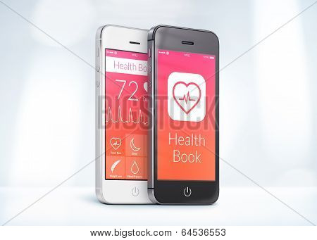 Black And White Smartphones With Health Care Book App On The Screen
