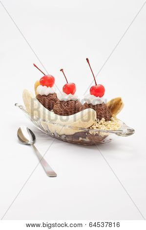 Banana Split Ice Cream isolated over color background poster