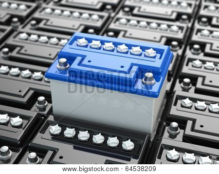 Car batteries background. Blue accumulators. Three-dimensional image. 3d