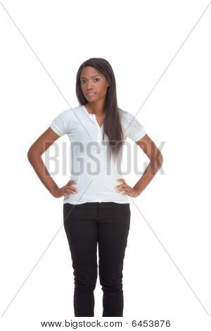 Ethnic Black Young Woman In Jeans And White T-shirt