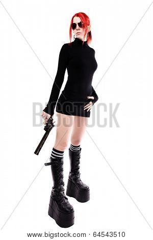 Sexy woman with a gun