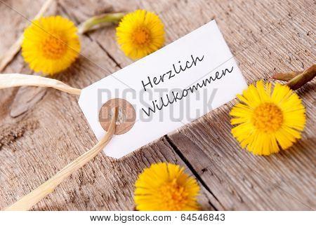 White Banner With Herzlich Willkommen