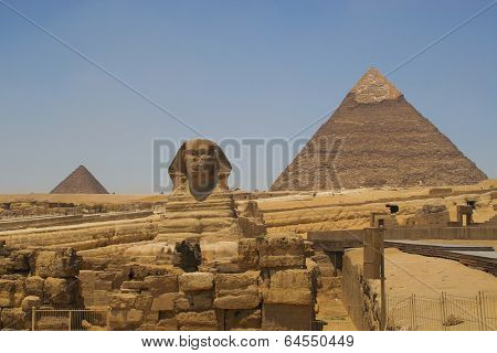 The Sphinx and the pyramids of Khafre (Chephren) and Menkaur (Mycerinus) in Giza - Cairo, Egypt