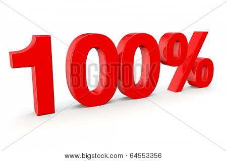 one hundred percent as a 3d redner isolated on a white background