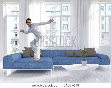 Picture of freaky man dancing on a blue couch