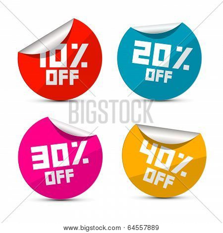 Vector Discount Stickers, Labels