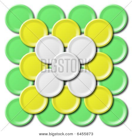 Various color of plates on white background poster