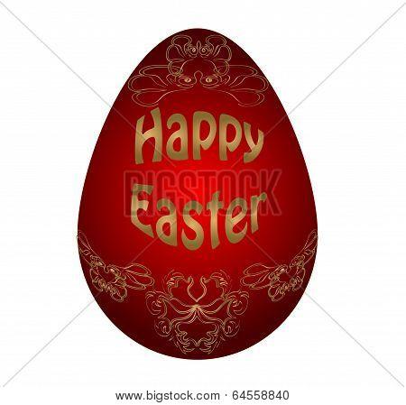 Easter  red egg. Vector illustration. Victorian ornament on egg