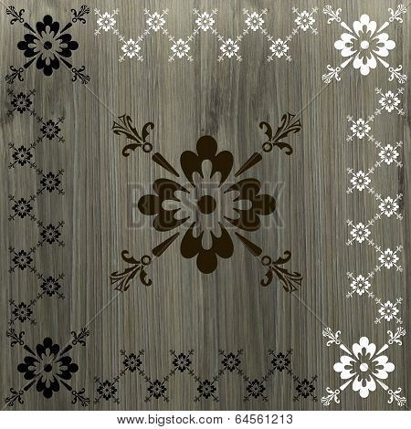 Caligraphic Border Floral On Wood Background