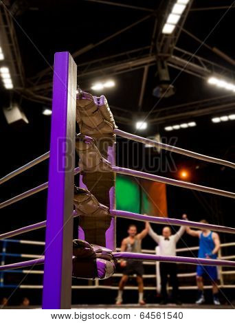 Equal Victory Of Boxers In The Ring
