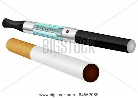 Electronic and normal cigarette isolated vector illustration poster