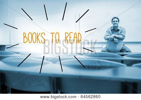 The word books to read against lecturer sitting in lecture hall