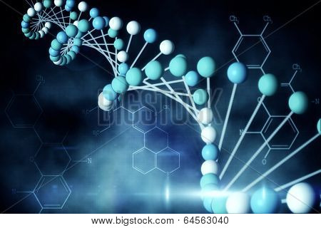 Digitally generated blue DNA strand with chemical structures
