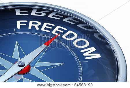high resolution 3d rendering of a compass with a freedom icon poster