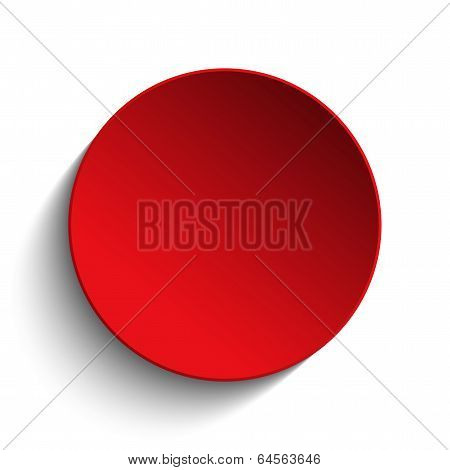 Red  Circle Button On White Background