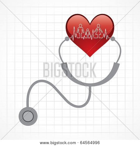 Stethoscope hold heart with heartbeat