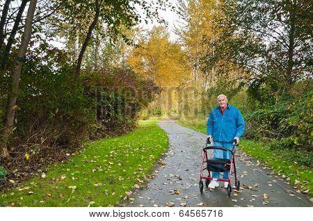 Senior Man With Walker In Park