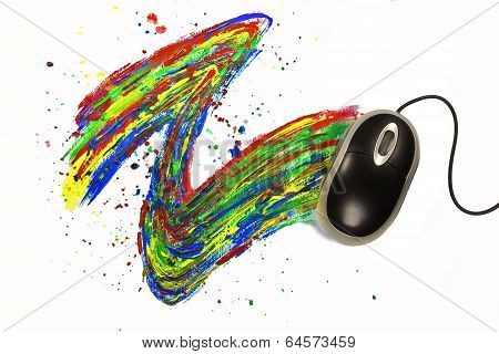 Computermouse Painting On White Background