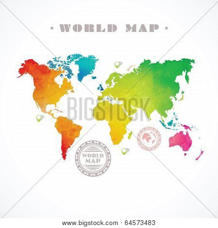 Vector Water-colour World Map