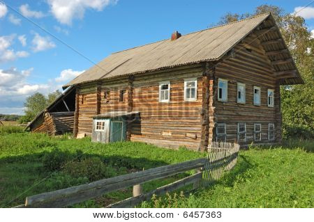 Old farmer's wooden house in northern russian village Haluy poster