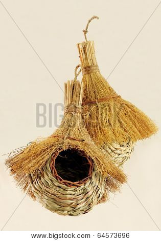Closeup of handwoven bird nests