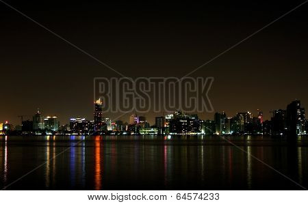 Closure look of Bahrain skyline at night