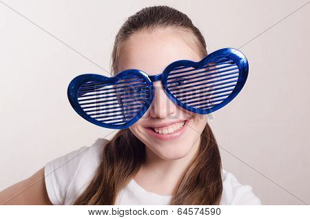 Smiling Girl In The Big Funny Glasses