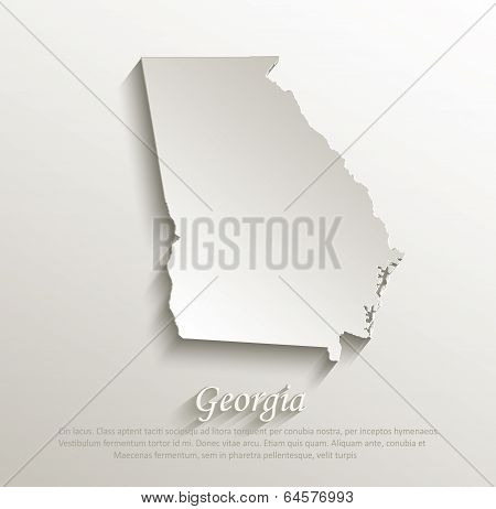 Georgia map card paper 3D natural vector