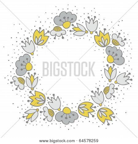 yellow gray flowers in round wreath on white