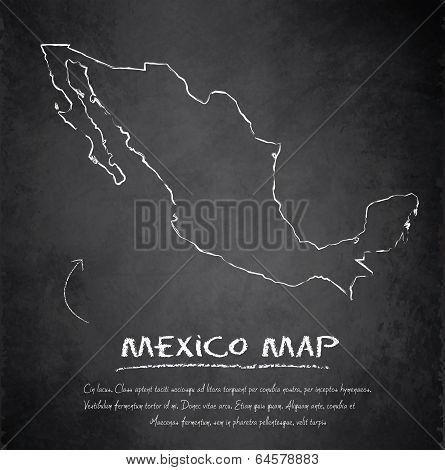 Mexico map blackboard chalkboard vector