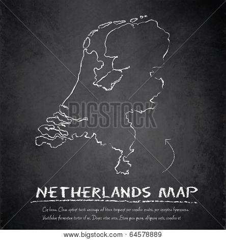 Netherlands Holland map blackboard chalkboard vector