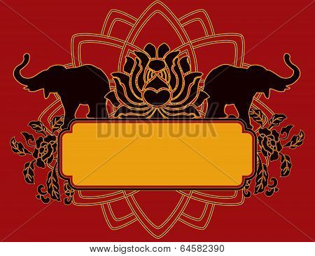 Elephant and lotus banner