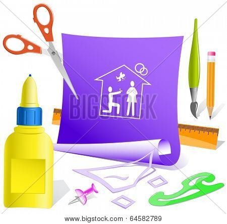Home affiance. Paper template. Vector illustration.