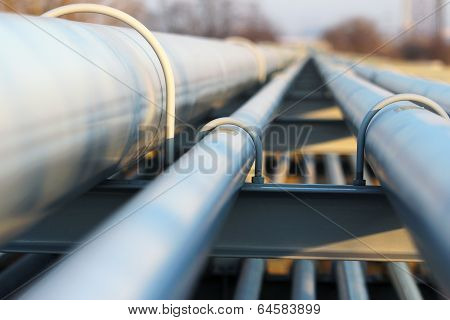 Detail Of Steel Light Pipeline In Oil Refinery
