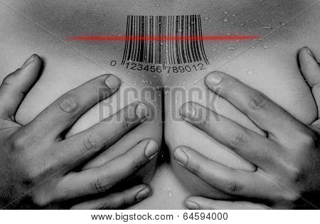 Hands Covering Breasts, Barcode