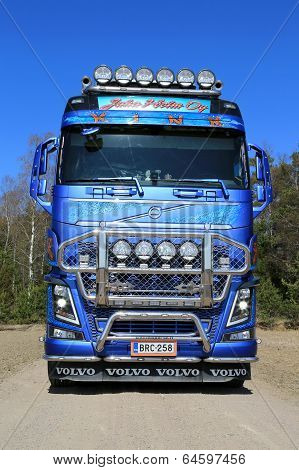 Front View Of Volvo FH16 Timber Truck On Country Road
